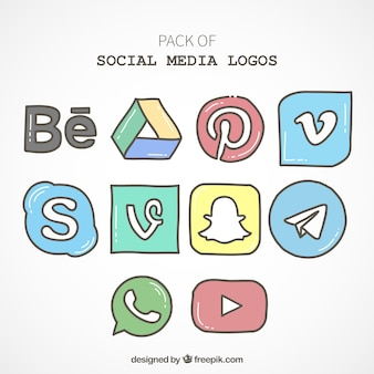 Pack of hand drawn social media icons