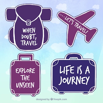 Pack of hand drawn stickers with travel messages