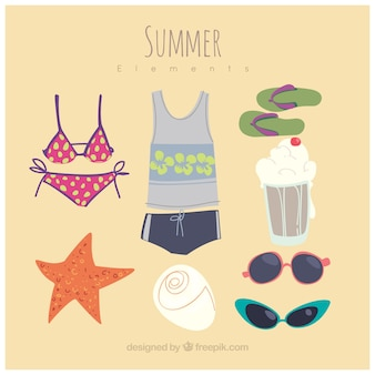 Pack of hand drawn summer items