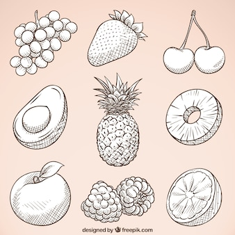 Pack of hand-drawn tasty fruits