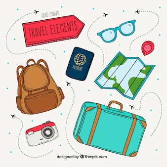 Pack of hand drawn travel elements