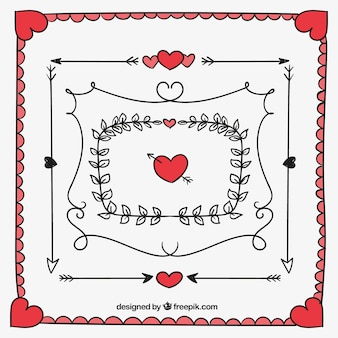 Pack of hand-drawn valentine frames and borders