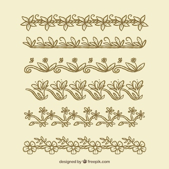 Pack of hand drawn vintage floral borders