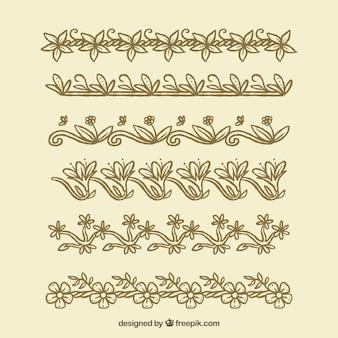Pack of hand drawn vintage floral borders