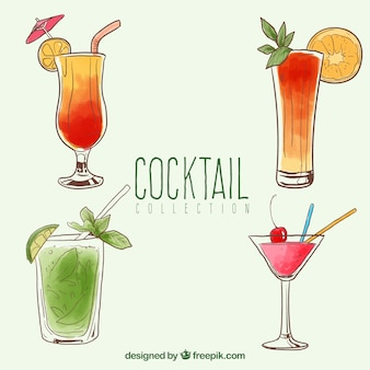 Pack of hand-drawn watercolor cocktails
