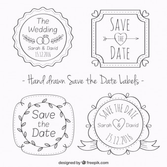 Pack of hand drawn wedding badges in vintage style