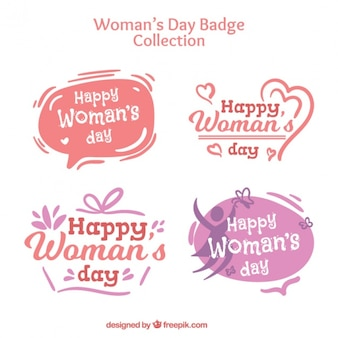 Pack of hand drawn woman day stickers