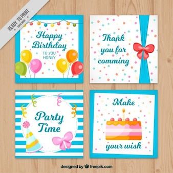 Pack of hand painted retro birthday cards
