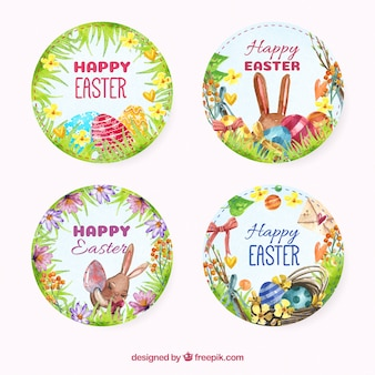 Pack of happy easter watercolor round stickers