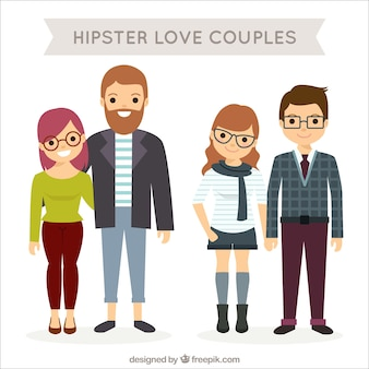 Pack of happy hipster couples in flat design