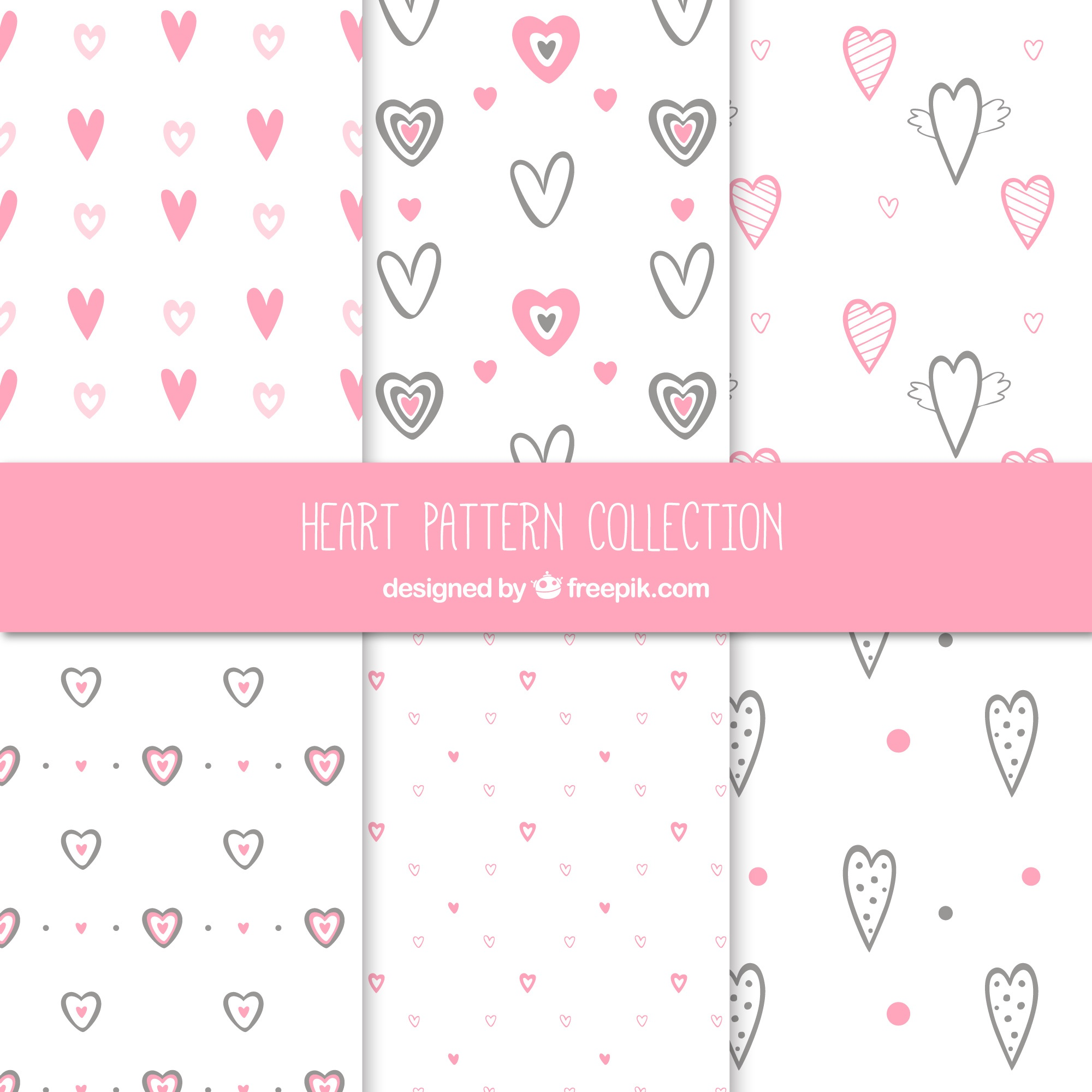 Pack of hearts sketching patterns