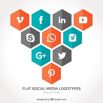 Pack of hexagonal social media icons