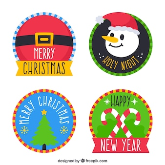 Pack of holiday stickers in flat design