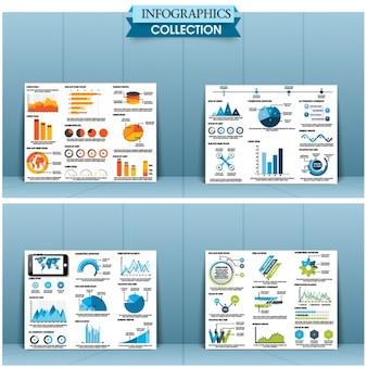 異なる色やデザインを持つインフォグラフィック要素のパック