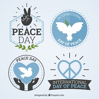 Pack of international day of peace pretty badges