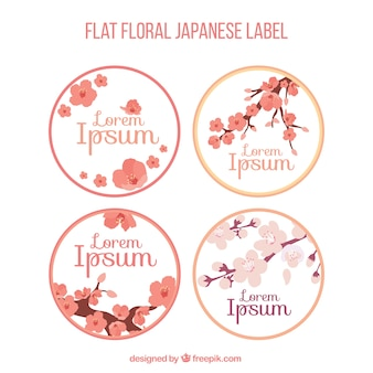 Pack of japanese labels with cherry blossom