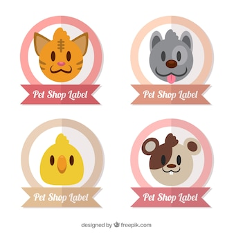 Pack of labels with cute pets