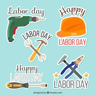 Pack of labor day tools stickers