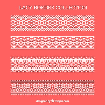 Pack of lace decorative borders in flat design