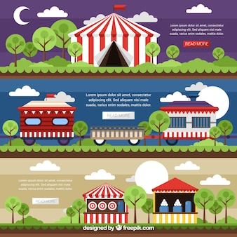 Pack of landscape banners with circus elements