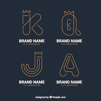 Pack of letter logos with gold lines