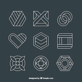 Pack of linear abstract logos