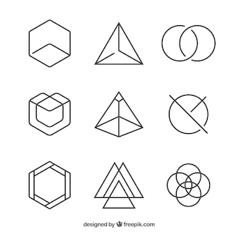 Пакет линейных геометрических логотипов