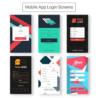 Pack of login screens