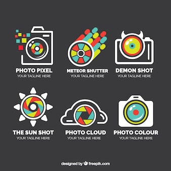 Pack of logos in linear style of photography with colorful details