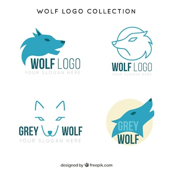 Pack of logos of blue wolves