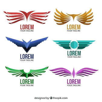 Pack of logos with wings in flat design