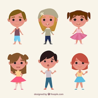 Pack of lovely children in vintage style
