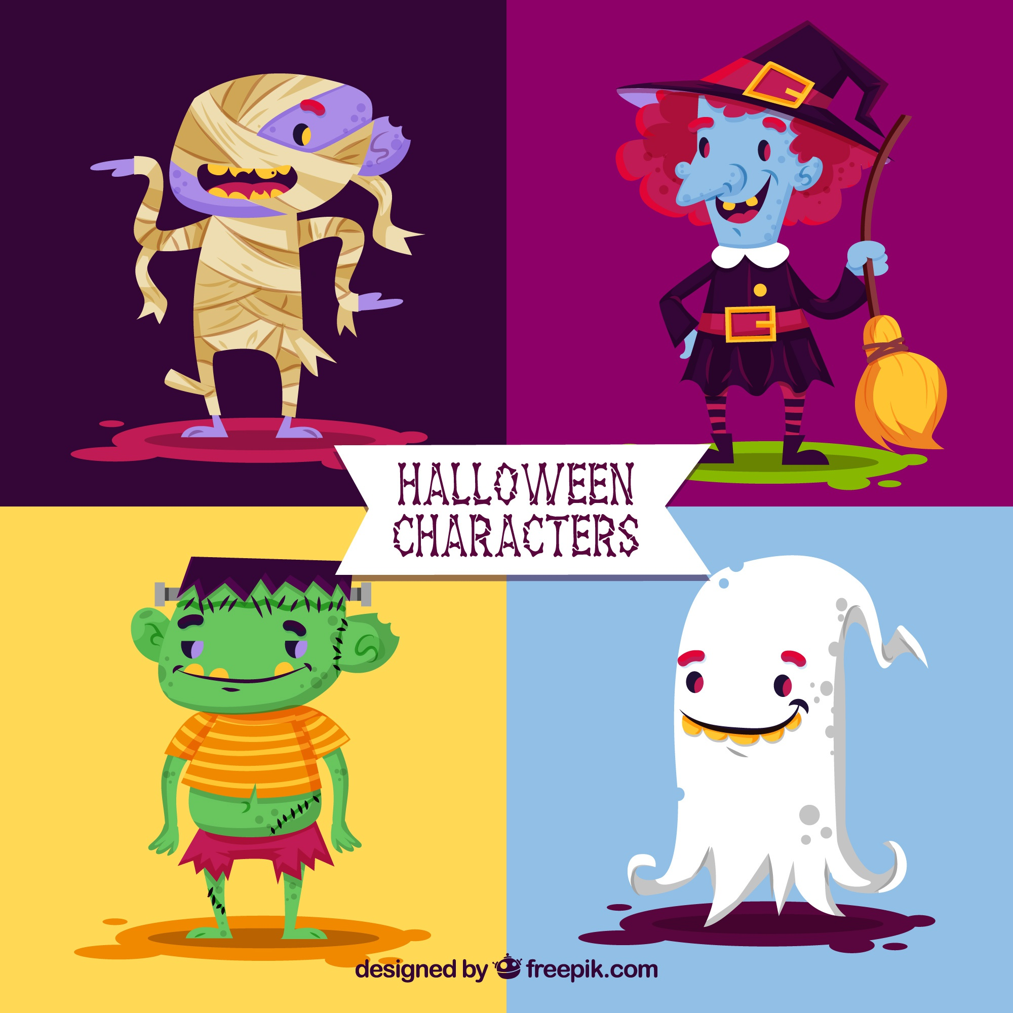 Pack of lovely halloween characters