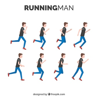 Pack of man running with different postures