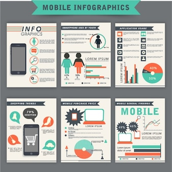Pack of mobile infographics with color details