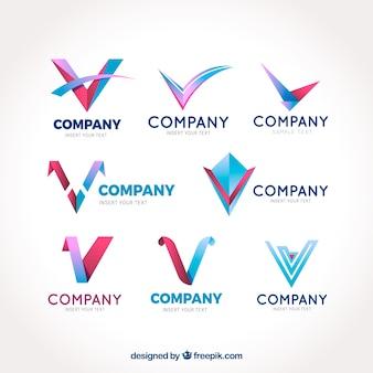 """モダンな """"v""""ロゴのパック"""