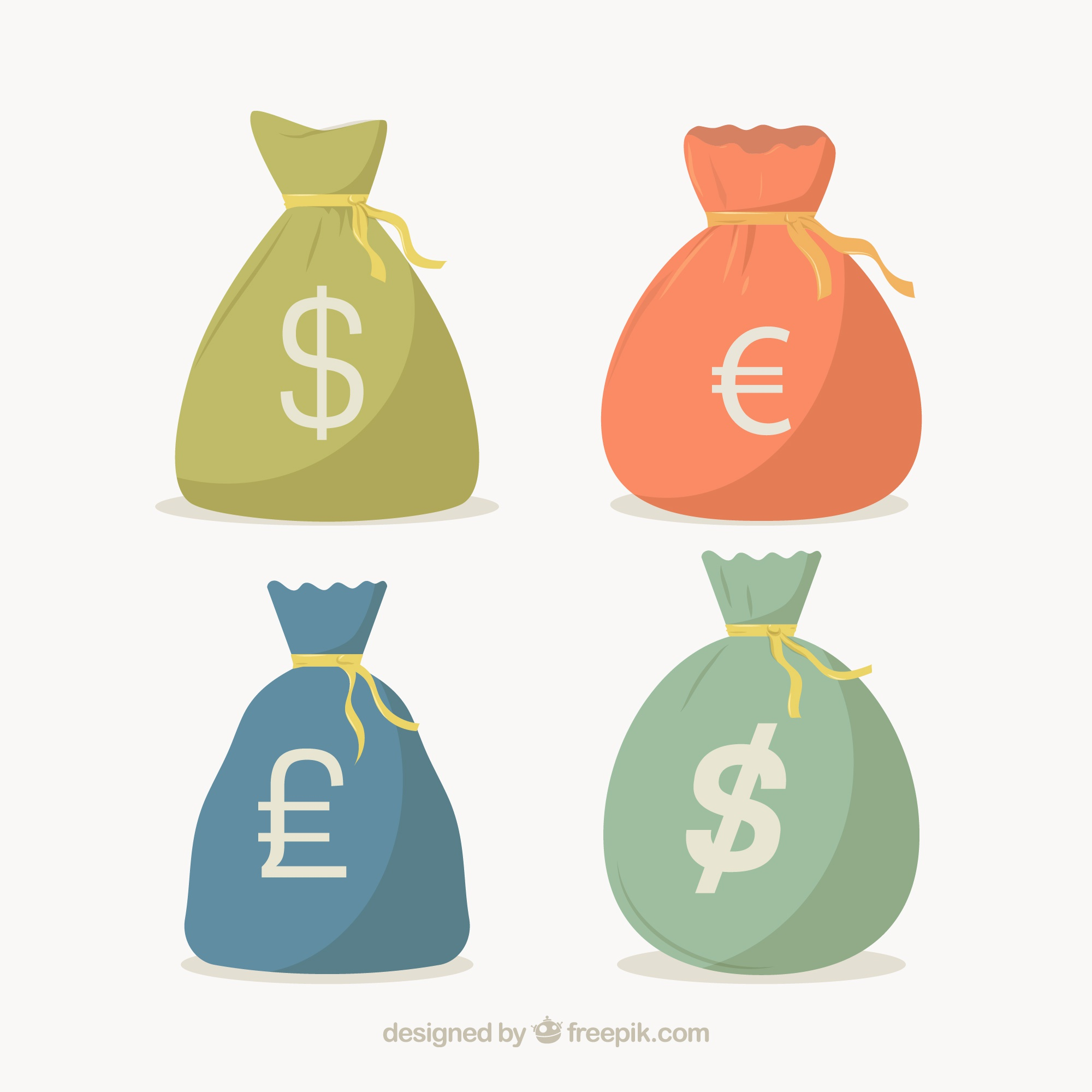 Pack of money bags with currency symbols