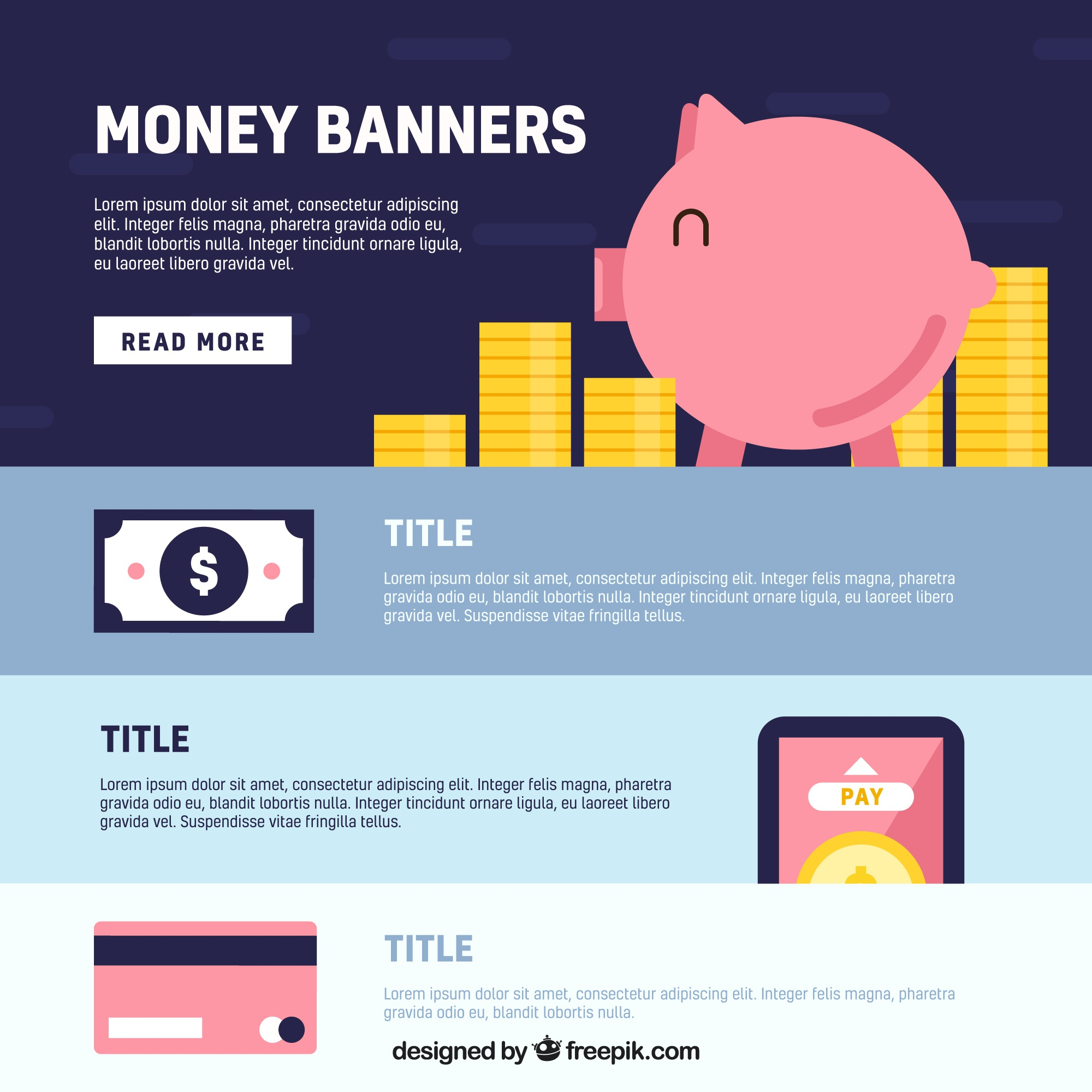 Pack of money banners in flat design