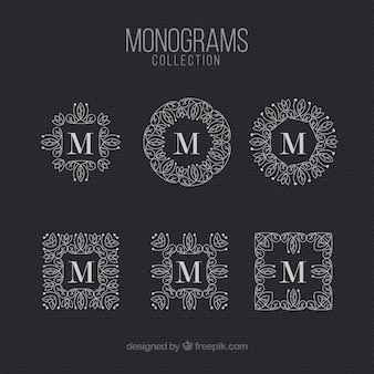Pack of monograms vintage letter  m