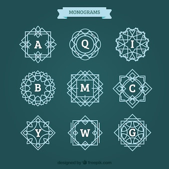 Pack of monograms with lines