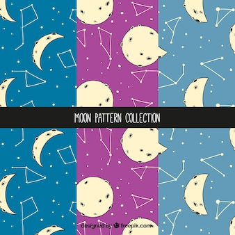 Pack of moon patterns and constellations