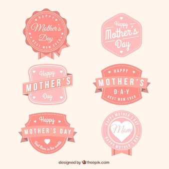 Pack of mother's day badges in pink tones