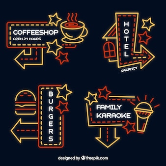 Pack of neon signs of premises