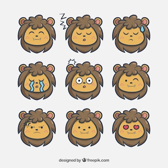 Pack of nice hand drawn lion emoticons