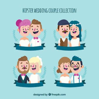 Pack of nice hipster wedding couples