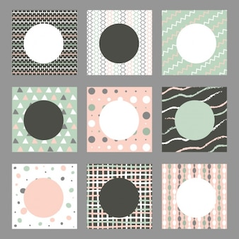 Pack of nine backgrounds with geometric shapes