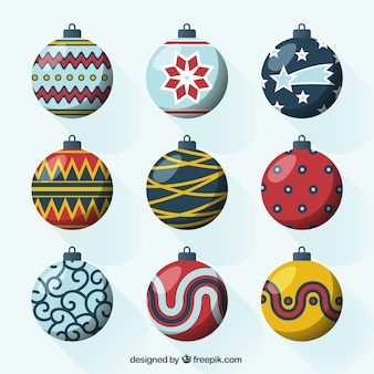 Pack of nine decorative balls ready for christmas