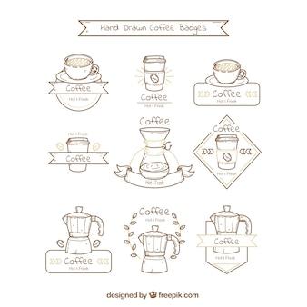 Pack of nine hand-drawn coffee badges