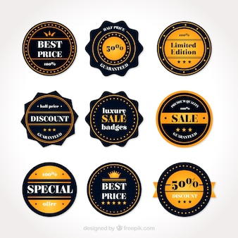 Pack of nine sale badges in flat design