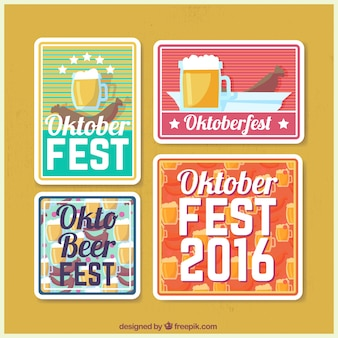 Pack of oktoberfest festival vintage stickers